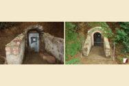 Zugang unterhalb der Burg, vorher und nachher