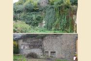 Stützmauer in der Haingasse vorher und nachher