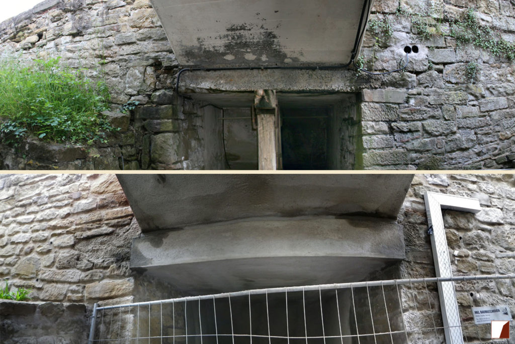 Unteransicht der Zugangsbrücke und Eingang zur Unterführung vorm Arsenalbau vorher und nachher