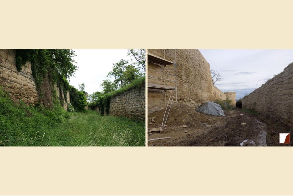 Zwingermauer und Pfaffenturm vor und nach den Bauarbeiten