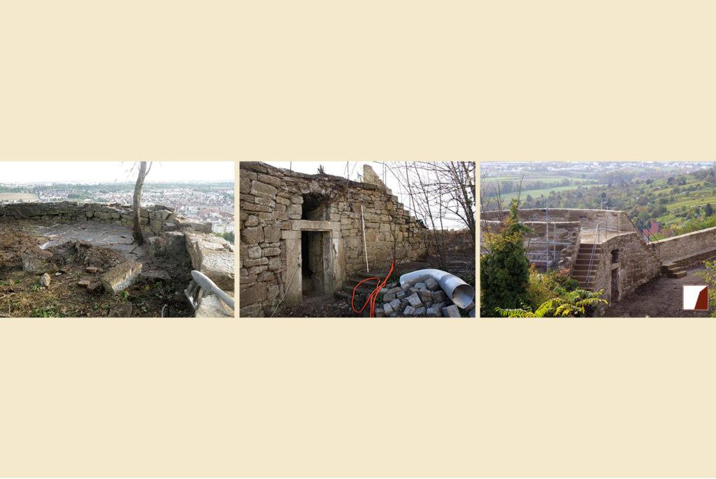 Pfaffenturm vor der Sanierung und danach