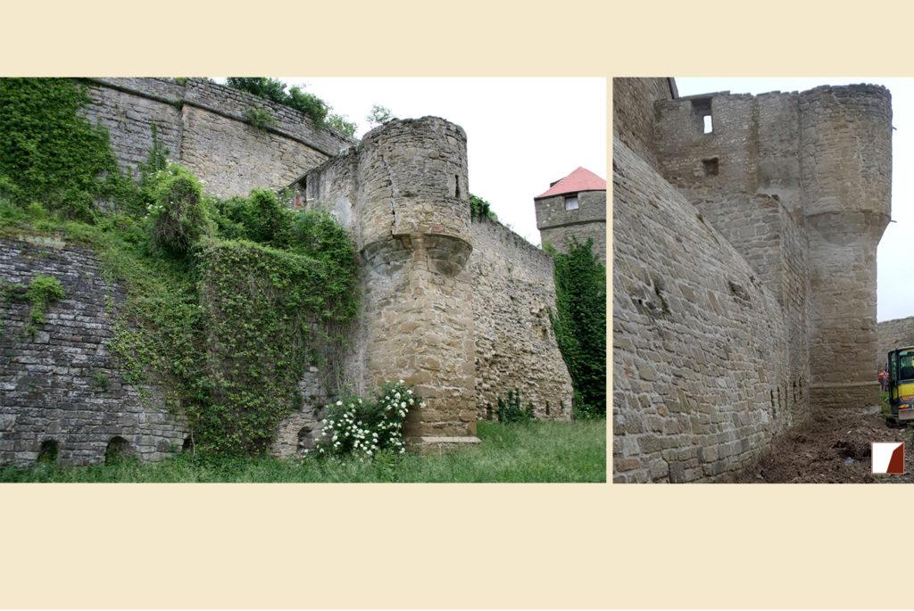 Wallgrabenmauern und Turm vorher und nachher
