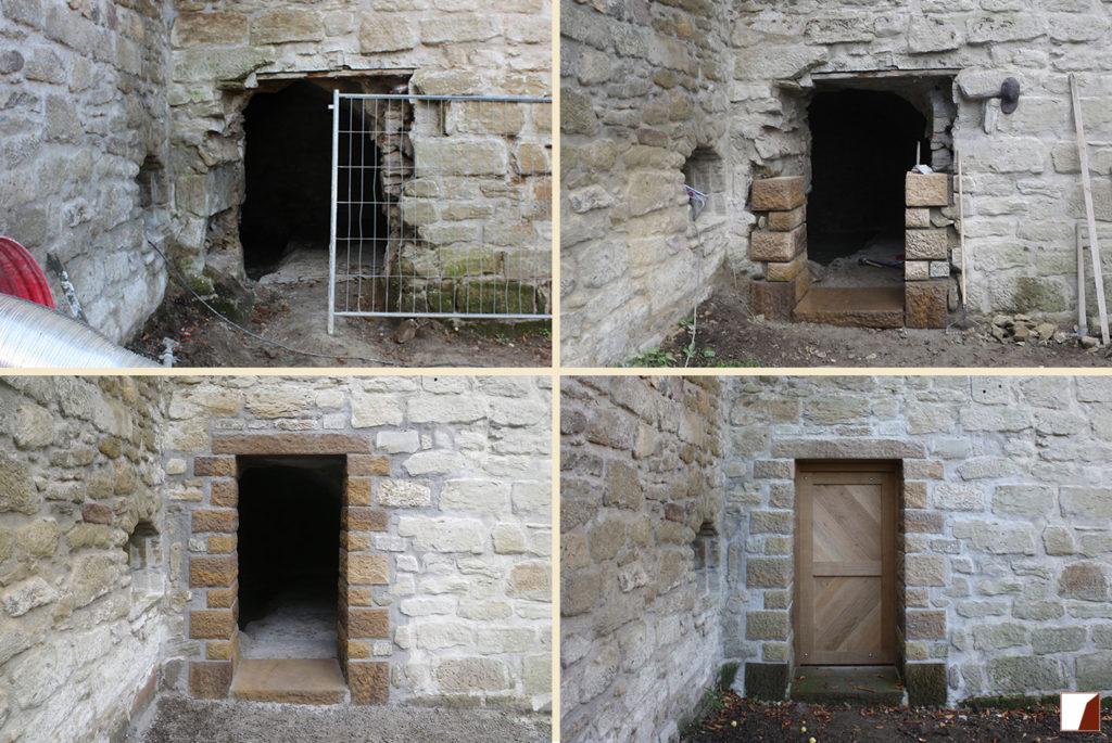 Tür im Wallgarten vor, während und nach den Arbeiten