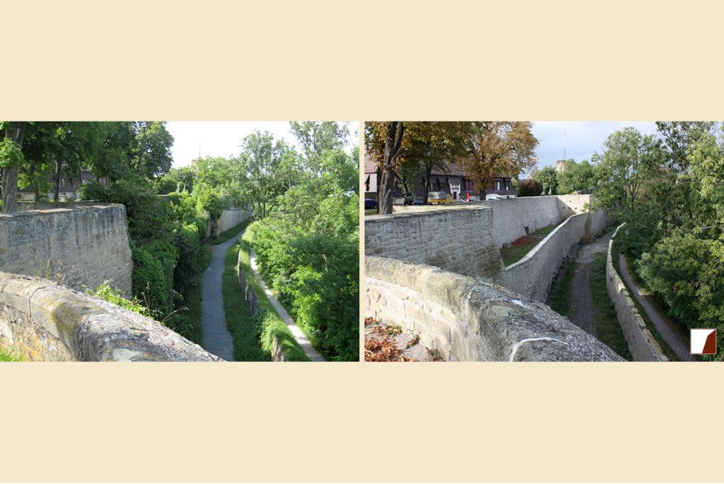 Wallgarten mit Blick auf Kanonenstand und Wallmauern vorher und nachher