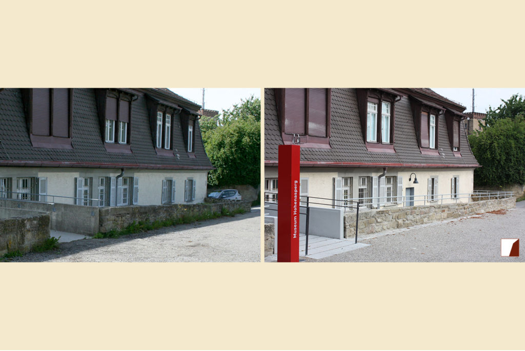 Eingang zum Museum und Mauer vorher & nachher