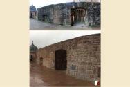 Mauer an der Schlossterrasse vorher und nachher