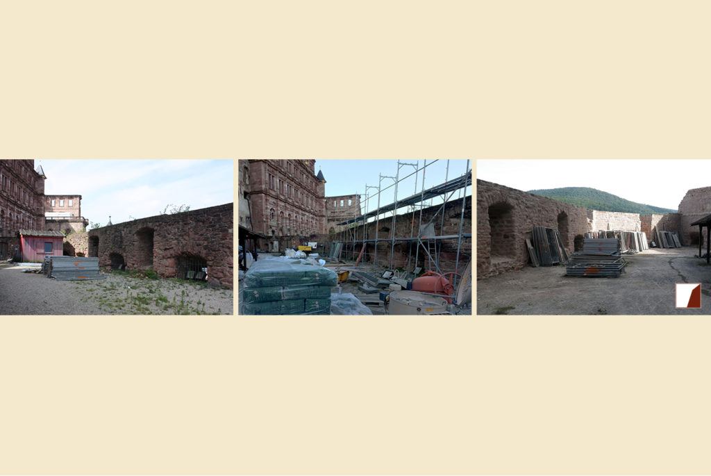 Mauern am Glockenturm, Innenansicht vor und nach den Bauarbeiten
