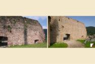 Mauern am Glockenturm, Außenansicht vor und nach den Bauarbeiten
