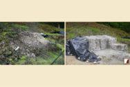 Teile der Schildmauer im Bereich des Turmes vor und nach der Wiederaufmauerung