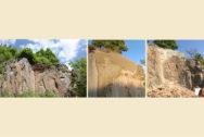 ehemalige Stützkonstruktion aus Mauerwerk vor, während und nach den Sicherungsarbeiten