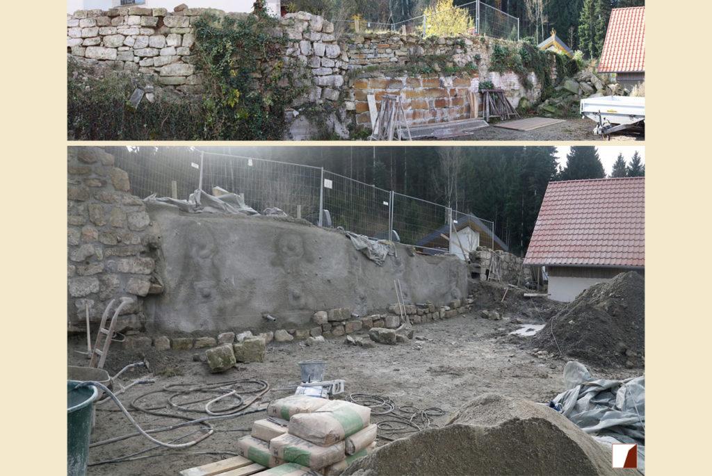 Mauer am Friedhof vor und während der Arbeiten