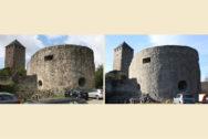 Hufeisenturm mit Blick auf Bergfried vorher und nachher
