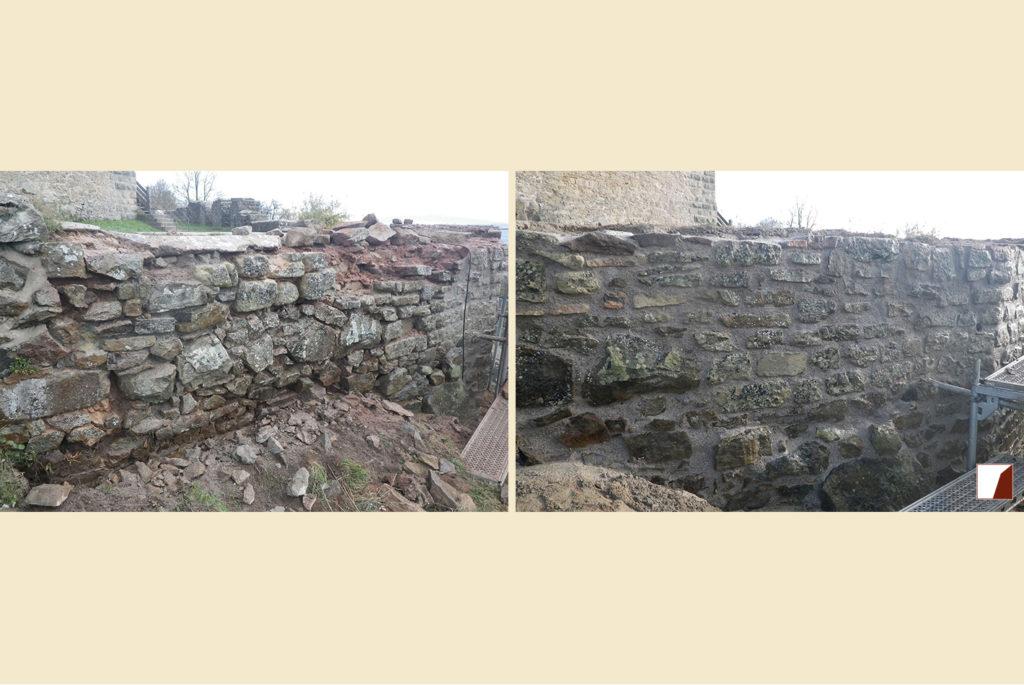nördliche Wehrmauern am Bergfried vorher und nachher