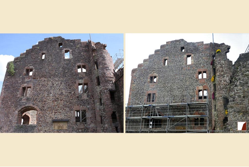Mauer am Hinteren Palas vorher und nachher