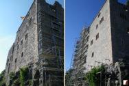 Außenansicht der Burg auf Porphyrfelsen vor und nach den Arbeiten