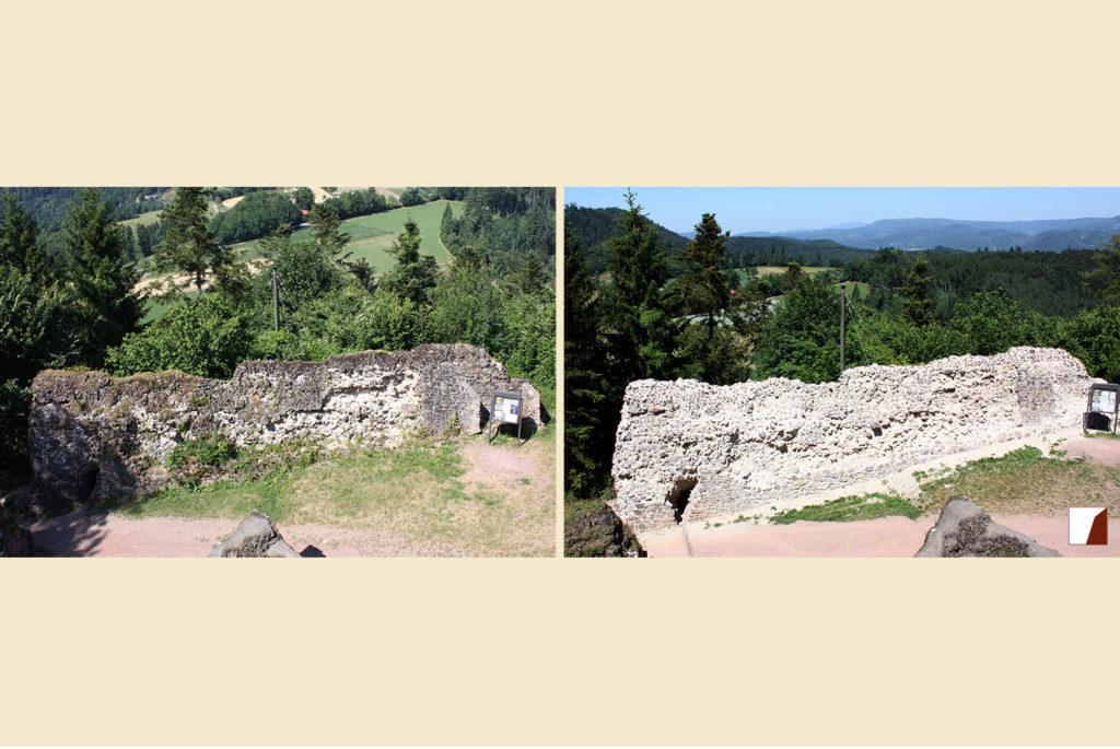Mauer am inneren Tor vorher und nachher