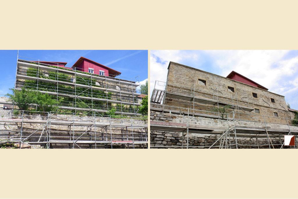 Stadtmauer vor und nach der Sanierung