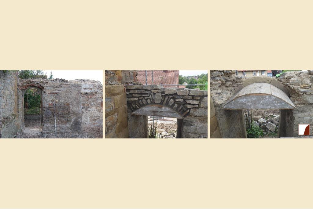 Tor in der Stadtmauer vor und nach der Sanierung