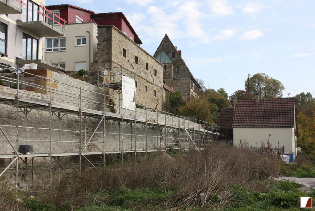 Stadtmauer während der Arbeiten